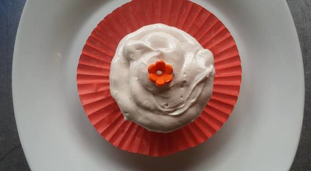 Blood Orange Sorbet Cupcake with Cream Cheese Icing